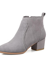 cheap -Women's Shoes Suede Fall & Winter Fashion Boots Boots Chunky Heel Pointed Toe Booties / Ankle Boots Black / Gray / Nude