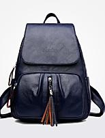 Недорогие -Жен. Мешки PU рюкзак Молнии Сплошной цвет Черный / Красный / Серый