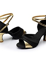 cheap -Women's Latin Shoes Satin / Patent Leather Sandal / Heel Splicing Flared Heel Customizable Dance Shoes Black / Gold