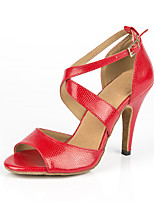 cheap -Women's Latin Shoes Synthetics Sneaker MiniSpot Slim High Heel Dance Shoes Red