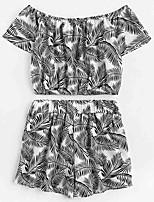 Недорогие -Жен. На выход Блуза Брюки Цветочный принт С открытыми плечами