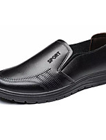 cheap -Men's Shoes Nappa Leather Summer Comfort Loafers & Slip-Ons Black / Brown