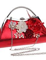 cheap -Women's Flower Polyester / Alloy Evening Bag Floral Print Black / Gold / Silver