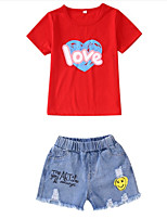 cheap -Kids Girls' Print Short Sleeve Clothing Set