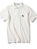 Недорогие -Муж. Polo Рубашечный воротник Однотонный / С короткими рукавами