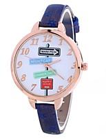 abordables -Mujer Reloj de Pulsera Chino Creativo / Reloj Casual / Esfera Grande PU Banda Moda / Minimalista Negro / Azul / Rojo