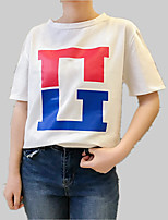 cheap -Women's Cotton Loose T-shirt - Solid Colored / Letter Print
