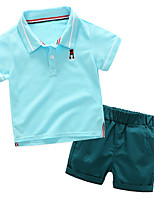 cheap -Kids Boys' Solid Colored / Patchwork / Jacquard Short Sleeve Clothing Set
