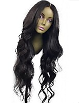 cheap -Virgin Human Hair Lace Front Wig Wig Brazilian Hair Wavy Layered Haircut 130% Density With Baby Hair / Natural Hairline Black Women's Short / Long / Mid Length Human Hair Lace Wig