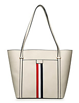 cheap -Women's Bags Genuine Leather Tote Buttons White / Black / Red