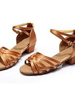 cheap -Women's Latin Shoes Satin Sandal / Heel Splicing Flared Heel Customizable Dance Shoes Brown