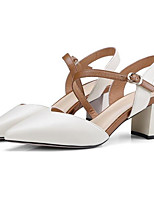 cheap -Women's Shoes Nappa Leather Summer Comfort Heels Block Heel Open Toe Buckle White / Black