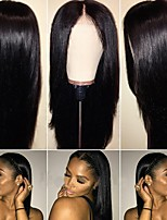 cheap -Remy Human Hair Lace Front Wig Brazilian Hair Straight Wig With Ponytail 130% With Baby Hair / Natural Hairline / 100% Virgin Natural Women's Short Human Hair Lace Wig