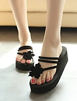 cheap -Women's Shoes PU(Polyurethane) Summer Comfort Slippers & Flip-Flops Wedge Heel Open Toe Black / Brown / Red