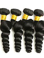 Недорогие -4 Связки Малазийские волосы Волнистый Натуральные волосы Человека ткет Волосы / Удлинитель / Пучок волос 8-28 дюймовый Ткет человеческих волос Машинное плетение