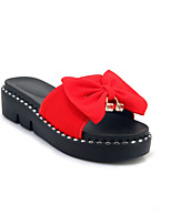 cheap -Women's Shoes Suede Summer Comfort Slippers & Flip-Flops Creepers Peep Toe Bowknot Black / Red / Green