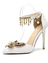 abordables -Femme Chaussures Polyuréthane Printemps été D'Orsay & Deux Pièces Chaussures de mariage Talon Aiguille Bout pointu Noeud / Perle /