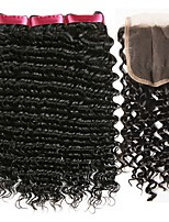 cheap -Brazilian Hair Curly Natural Color Hair Weaves / Human Hair Extensions / Hair Weft with Closure 3 Bundles With  Closure 8-22 inch Human Hair Weaves 4x4 Closure Fashionable Design / Best Quality / Hot