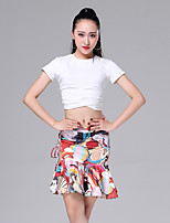 cheap -Latin Dance Outfits Women's Performance Modal / Ice Silk Pattern / Print / Ruching / Split Short Sleeve Dropped Skirts / Top