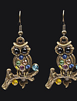 cheap -Women's AAA Cubic Zirconia Sculpture Mismatch Earrings - Owl, Buddha Vintage, Fashion Brass For Gift / Going out