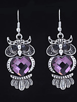 cheap -Women's Mismatched Drop Earrings - Owl Stylish, Dangling Style, British Silver / Purple / Champagne For Gift / Going out