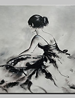 cheap -Oil Painting Hand Painted - People / Sports Modern Canvas