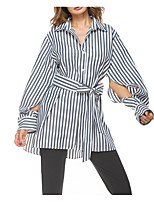 cheap -women's slim shirt - striped shirt collar