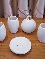 abordables -Set d'Accessoires de Salle de Bain Mignon Moderne Céramique 5pcs - Salle de Bain Simple