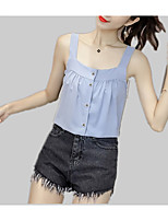 cheap -Women's Tank Top - Solid Colored Pleated