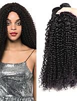 Недорогие -3 Связки Перуанские волосы Кудрявый Натуральные волосы Человека ткет Волосы / Накладки из натуральных волос 8-28 дюймовый Ткет человеческих волос Без шапочки-основы