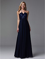 cheap -Sheath / Column Halter Neck Floor Length Chiffon / Charmeuse / Sequined Formal Evening Dress with Side Draping by TS Couture®
