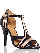 cheap -Women's Latin Shoes Patent Leather Sandal Splicing Slim High Heel Dance Shoes Black / Beige