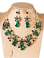 cheap -Women's Cubic Zirconia Layered Jewelry Set - Drop, Flower Classic, Vintage, Elegant Include Drop Earrings / Choker Necklace Silver / Red / Green For Wedding / Party / Engagement