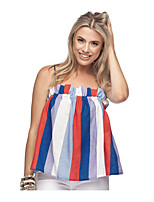 cheap -Women's T-shirt - Striped / Color Block Ruffle