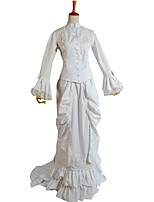 abordables -Rococo / Victorien Costume Femme Tenue Blanc Vintage Cosplay 50% Coton / 50% Polyester Manches Longues Manches Evasées