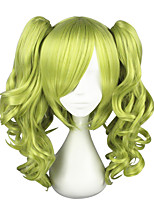 cheap -Cosplay & Costume Wigs Curly Layered Haircut Synthetic Hair Cosplay Green Wig Women's Mid Length Capless / Yes