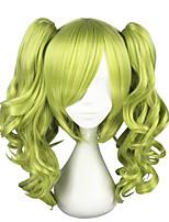 Недорогие -Маскарадные парики Кудрявый Стрижка каскад Искусственные волосы Косплей Зеленый Парик Жен. Средняя длина Без шапочки-основы