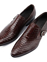 cheap -Men's Shoes Cowhide Spring Comfort Loafers & Slip-Ons Black / Wine