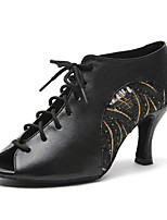 cheap -Women's Latin Shoes Faux Leather Sneaker MiniSpot / Paillette Thick Heel Customizable Dance Shoes Gold / Black
