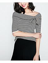 abordables -Mujer Camiseta, Escote en Pico A Rayas