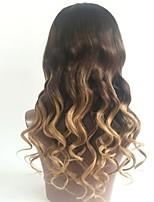 cheap -Virgin Human Hair Lace Front Wig Wig Brazilian Hair Wavy Layered Haircut 130% Density Ombre Hair / Dark Roots Blonde Women's Short / Long / Mid Length Human Hair Lace Wig