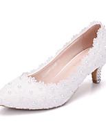 abordables -Femme Chaussures Polyuréthane Printemps été Escarpin Basique Chaussures de mariage Talon Bas Bout pointu Perle Blanc / Mariage