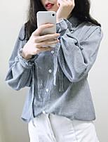 economico -Camicia Per donna Per uscire / Ufficio A strisce Colletto