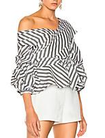 Недорогие -Жен. Блуза С открытыми плечами Полоски