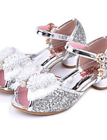 cheap -Girls' Shoes Sparkling Glitter Spring / Summer Comfort / Novelty / Flower Girl Shoes Sandals Rhinestone / Bowknot / Beading for Gold / Silver / Pink / Peep Toe / Wedding