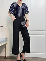 cheap -Women's Sophisticated Blouse - Solid Colored / Striped, Print Pant