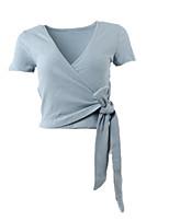 economico -T-shirt Per donna Tinta unita A V - Cotone