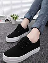 abordables -Mujer Zapatos Tela Otoño Confort Zapatillas de deporte Media plataforma Negro