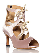 cheap -Women's Latin Shoes Satin Sneaker Ribbon Tie Slim High Heel Dance Shoes Black / Nude