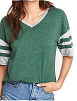 baratos -Mulheres Camiseta - Para Noite Sólido / Listrado Decote V